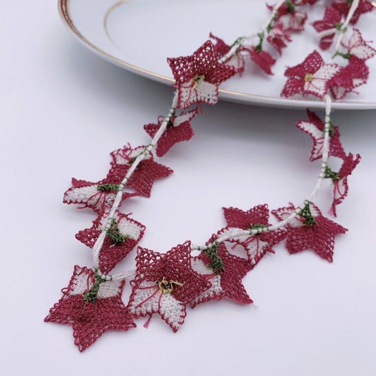トルコ伝統手刺繍イーネオヤ・ネックレス<br>Purple×White