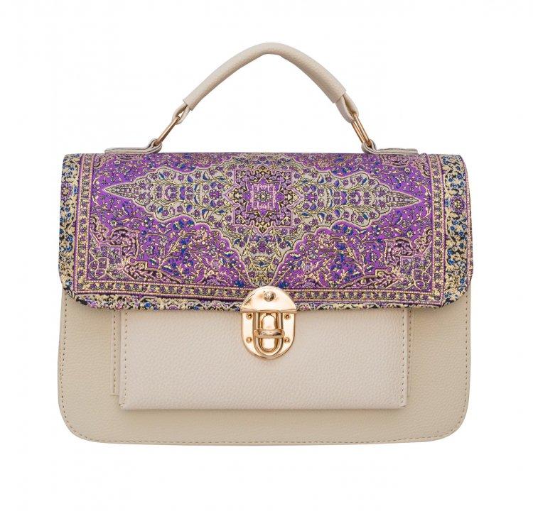 イスラム柄 2wayバッグ<br>Pocket M Ivory Purple