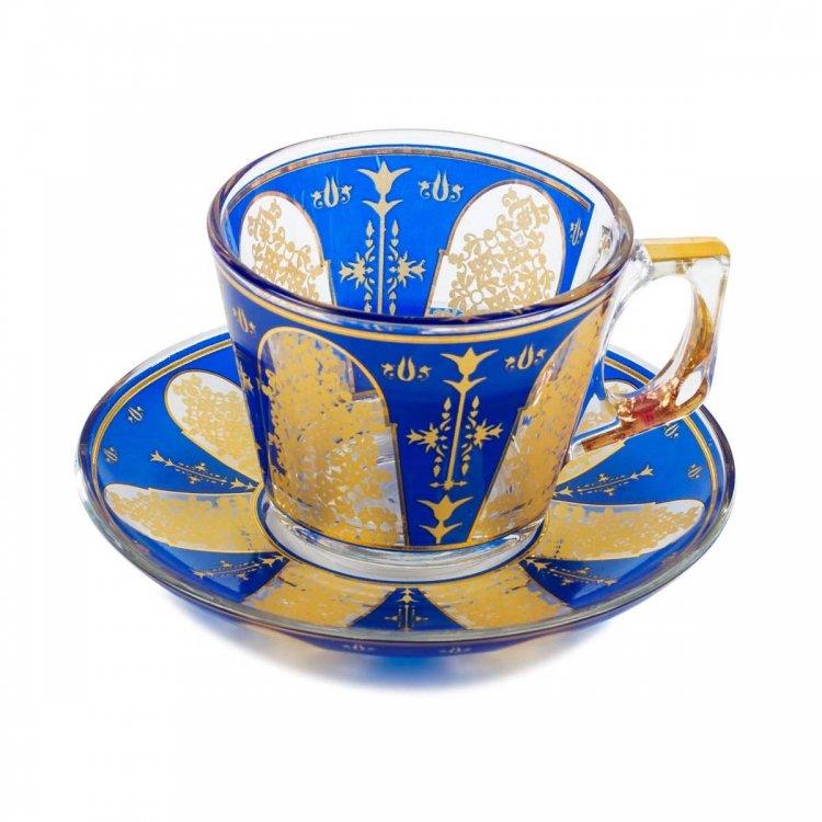 カップ&ソーサー(PASABAHCE)<br>Happy Door Royal Blue