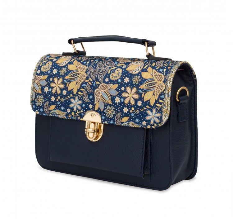 イスラム柄 2way Bag<br>Pocket M Navy Flower