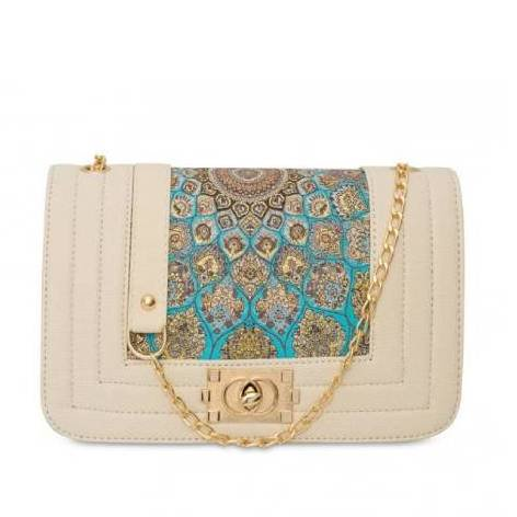 イスラム柄 2Way Chain Bag<br> Pyramid White TB Gold