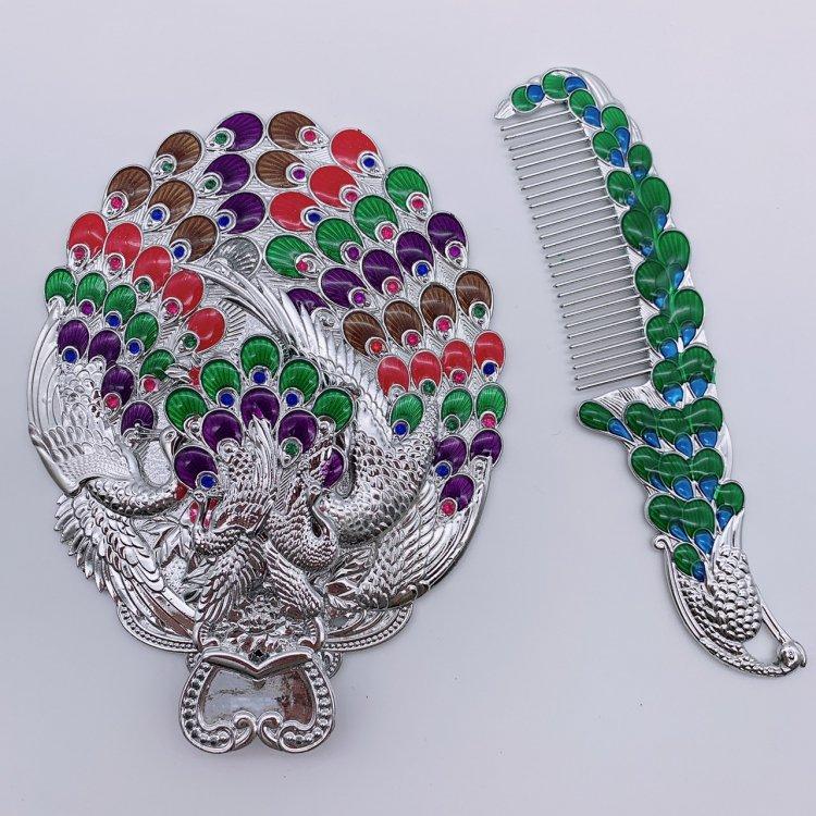 ミラー&コーム(大)<br>Peacock Silver