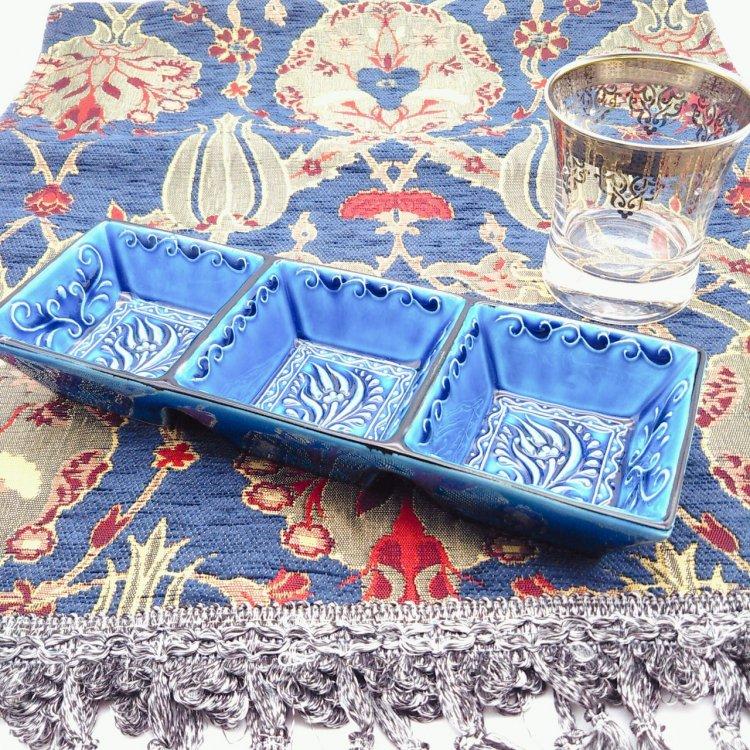 トルコ陶器 3連トレー<br>Blue