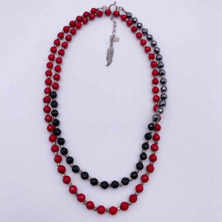 天然石ネックレス<br>赤珊瑚・オニキス・ヘマタイト