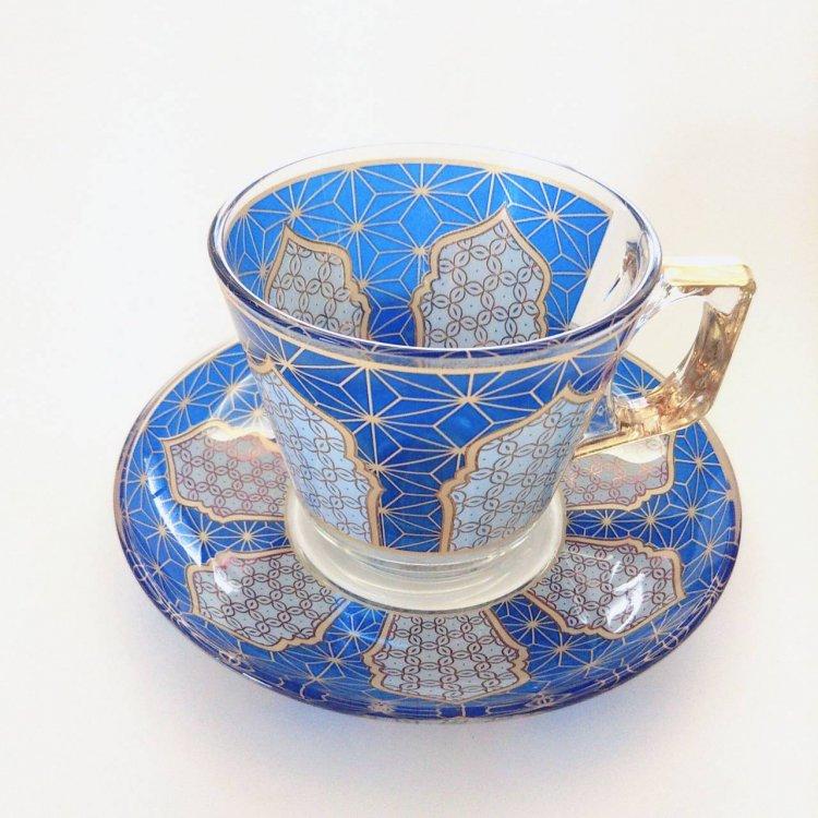 カップ&ソーサー(PASABAHCE)<br>Geometric Blue