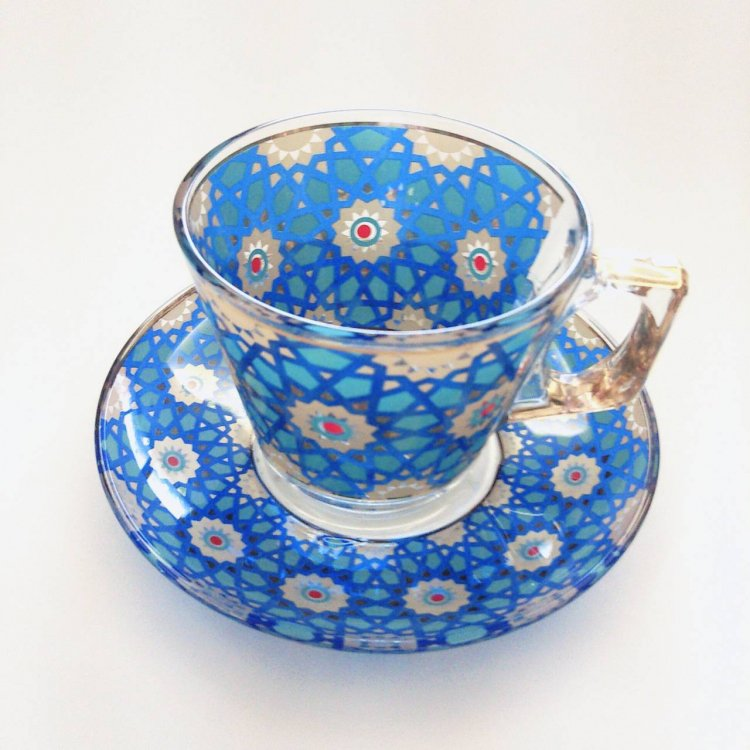 カップ&ソーサー(PASABAHCE)<br>Star Tile Blue