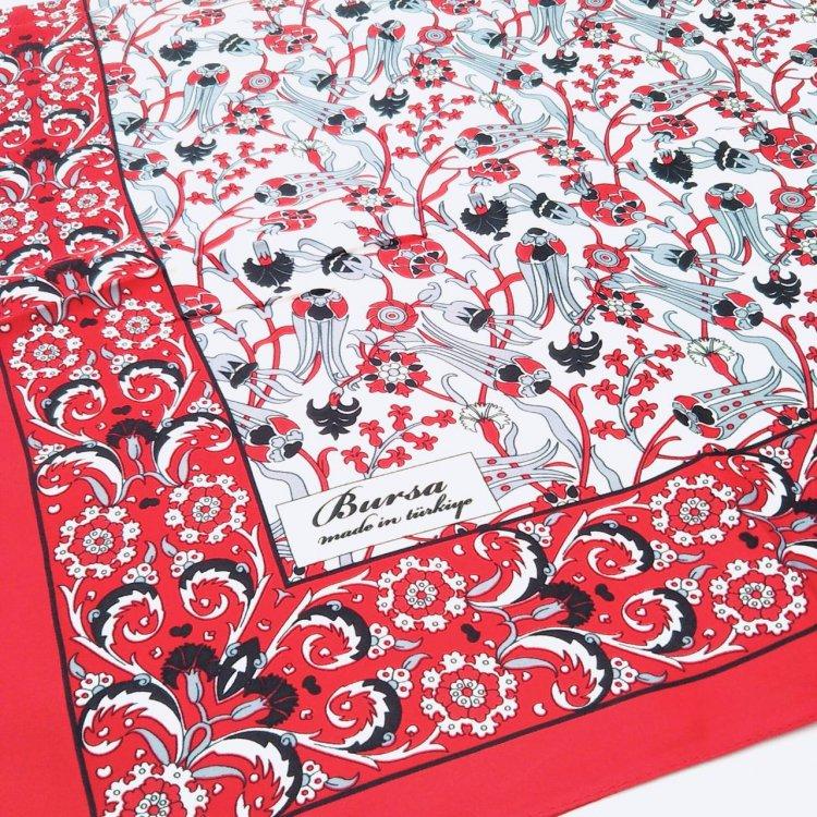シルクスカーフ(BURSA)<br>Square Tulip Red
