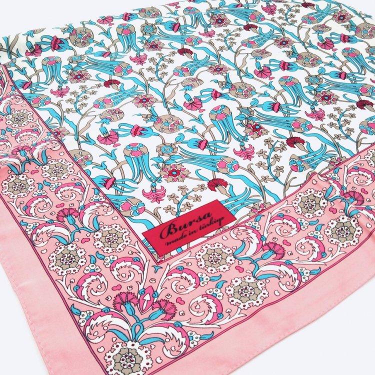 シルクスカーフ(BURSA)<br>Square Tulip Pink