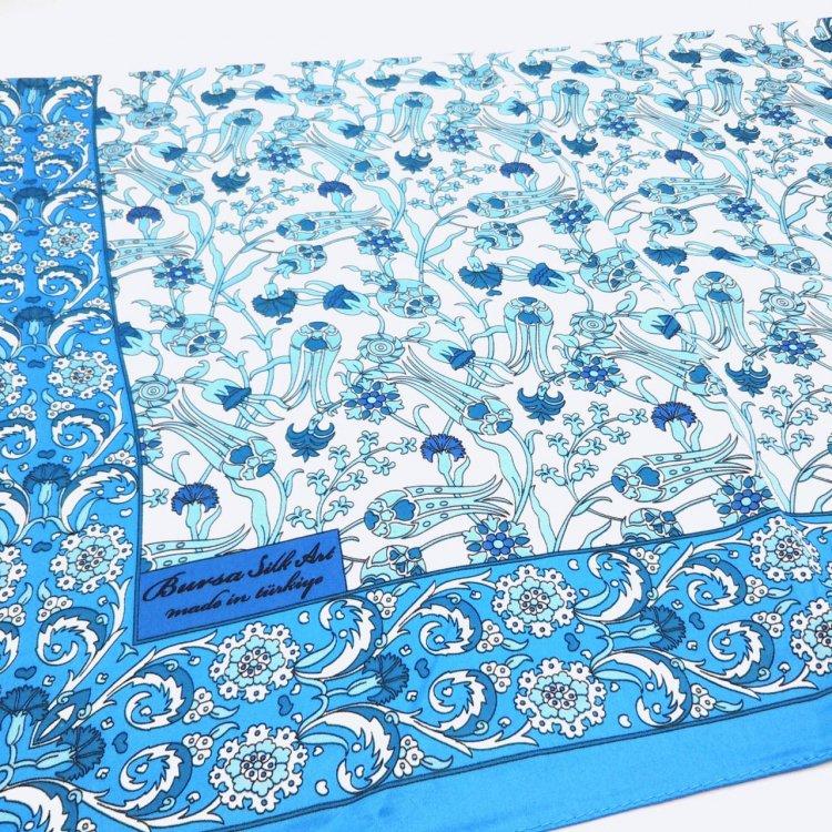 シルクスカーフ(BURSA)<br>Tulip Blue