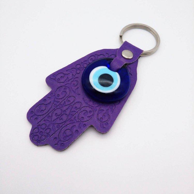 """幸福のお守り<br>""""ファティマの手""""付きキーホルダー<br>Purple"""