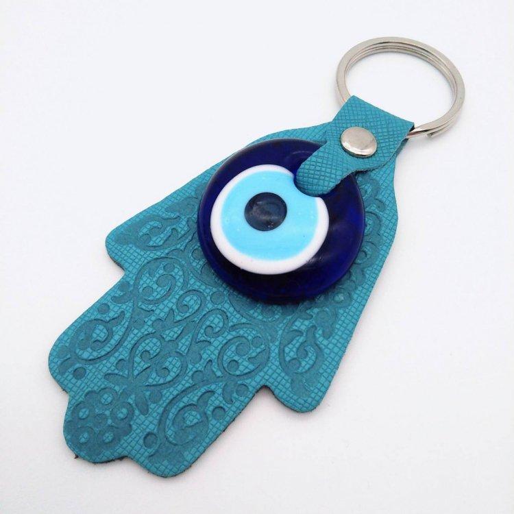 """幸福のお守り<br>""""ファティマの手""""キーホルダー<br>Turquoise Blue"""