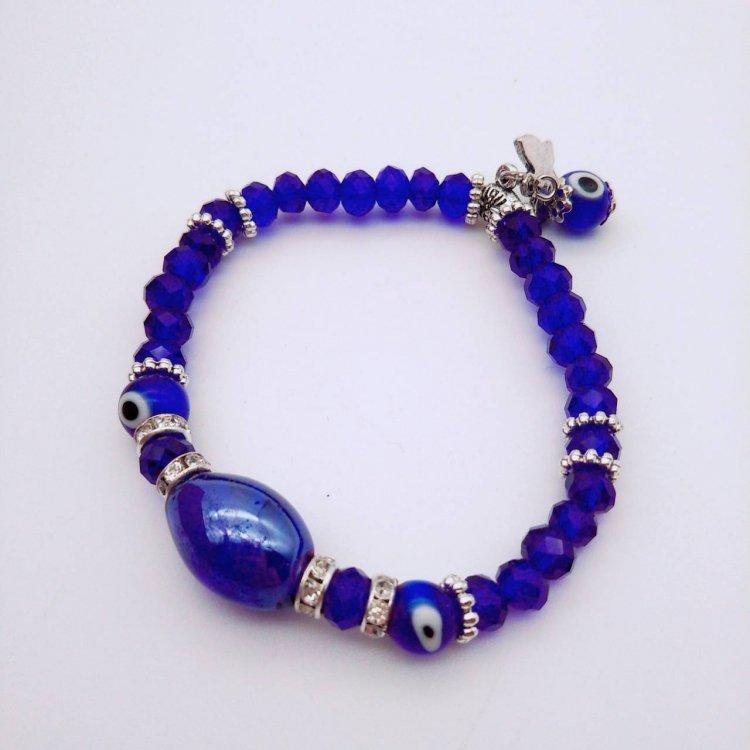 お守り付きブレスレット<br>ナザールボンジュウ Butterfly Blue