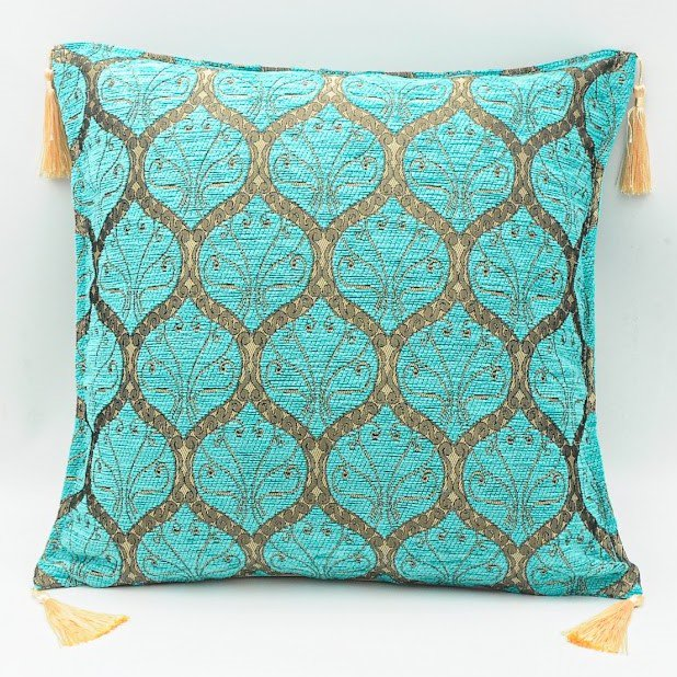 Cushion cover クッションカバー_Peacock Turquoise Blue