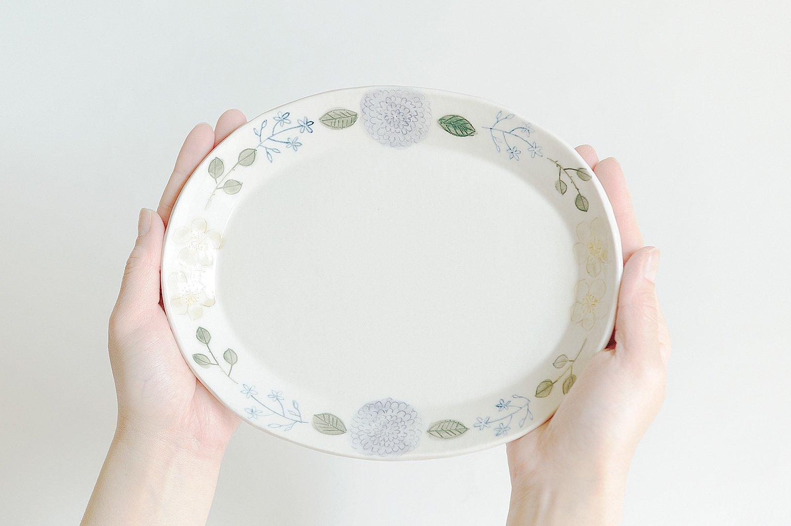 楕円皿 - ダリア