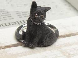 黒猫リングお座り<br>(シルバー/CZ)