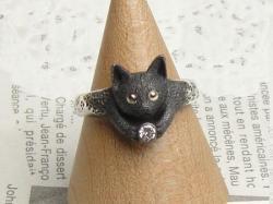 黒猫リングface<br>(シルバー/CZ)