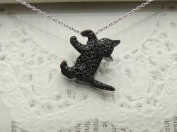 黒猫パヴェブローチ&ペンダントトップ<br>(シルバー/CZ)