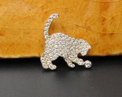猫パヴェシルエット<br>ブローチ&ペンダントトップ<br>(K18YG/ダイヤ)