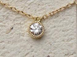 一粒ダイヤモンドネックレス<br>(両吊りタイプ・ダイヤSIクラス・チェーン付・K18YG)