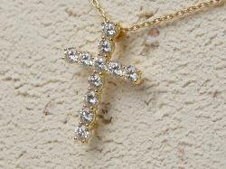 ダイヤモンドクロスネックレスS<br>(K18YG/VSクラスダイヤ)