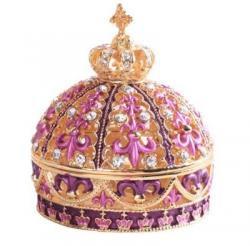 ジュエリーボックス<br>クラウン王冠 ピューターボックス<br>(ピンク)