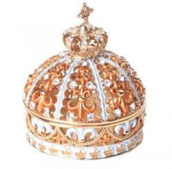 ジュエリーボックス<br>クラウン王冠 ピューターボックス<br>(ブルー)