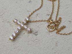 ダイヤモンドクロスネックレスL<br>(K18YG/VSクラスダイヤ)