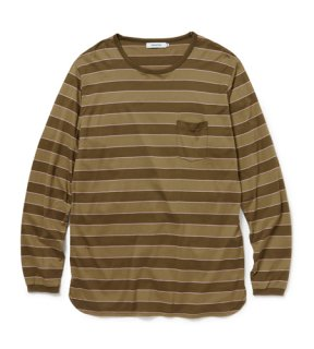 nonnative - DWELLER L/S TEE COTTON JERSEY BORDER (EUCALYPTUSY)