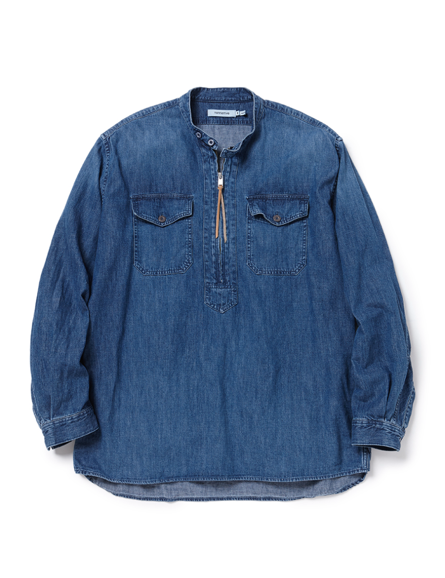 <img class='new_mark_img1' src='https://img.shop-pro.jp/img/new/icons50.gif' style='border:none;display:inline;margin:0px;padding:0px;width:auto;' />nonnative - WORKER PULLOVER SHIRT RELAXED FIT COTTON 7.2oz DENIM VW