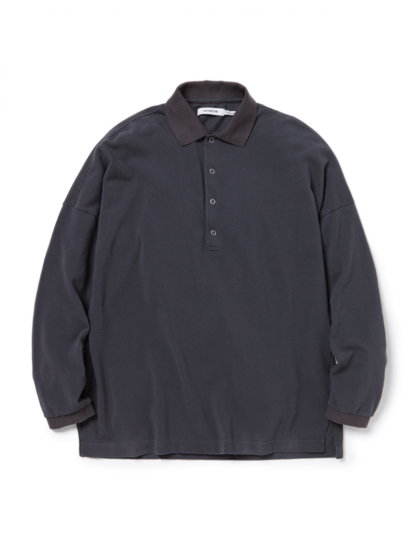 <img class='new_mark_img1' src='https://img.shop-pro.jp/img/new/icons1.gif' style='border:none;display:inline;margin:0px;padding:0px;width:auto;' />nonnative - CLERK POLO L/S TEE COTTON PIQUE (CHARCOAL)