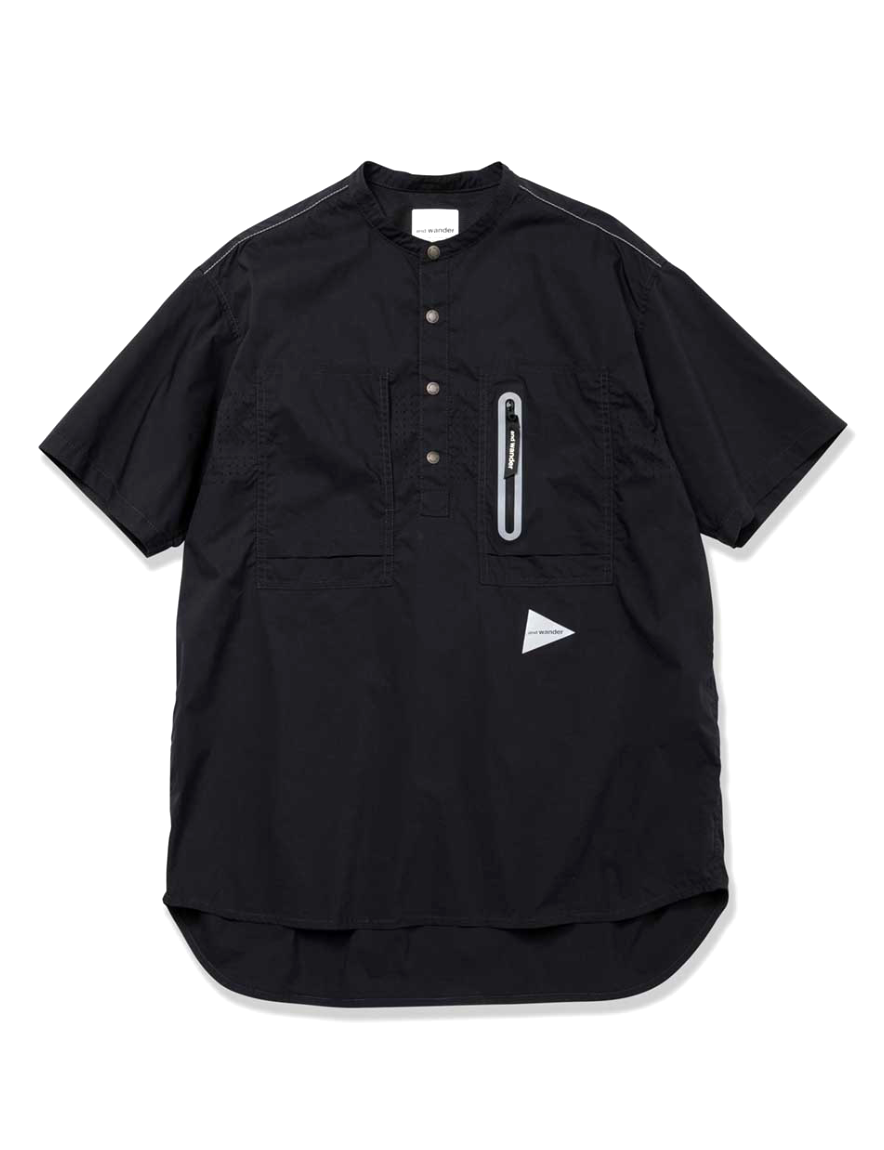 <img class='new_mark_img1' src='https://img.shop-pro.jp/img/new/icons1.gif' style='border:none;display:inline;margin:0px;padding:0px;width:auto;' />and wander - laser hole over shirt (BLACK)