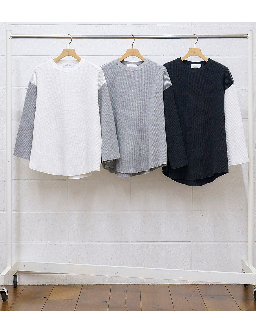 <img class='new_mark_img1' src='https://img.shop-pro.jp/img/new/icons1.gif' style='border:none;display:inline;margin:0px;padding:0px;width:auto;' />UNUSED - Three quarter sleeve thermal  (WHITE/GRAY)