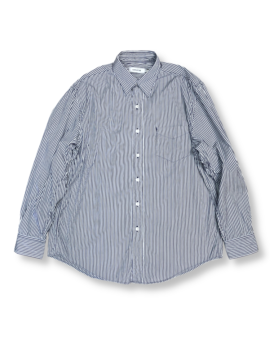 <img class='new_mark_img1' src='https://img.shop-pro.jp/img/new/icons50.gif' style='border:none;display:inline;margin:0px;padding:0px;width:auto;' />nonnative - DWELLER B.D. SHIRT RELAXED FIT COTTON BROAD LONDON STRIPE (NAVY)